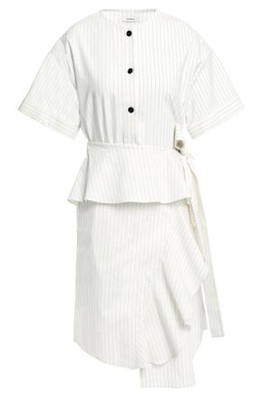 GOEN.J Asymmetric ruffled pinstriped linen-blend mini dress