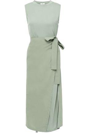 GOEN.J Wrap-effect poplin-layered cotton-jersey midi dress