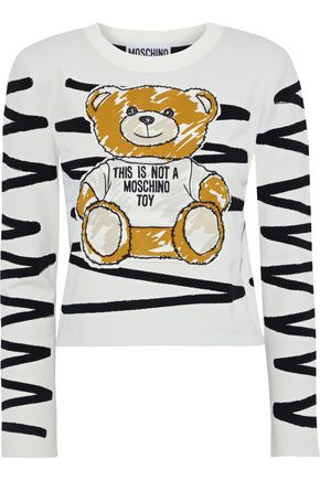 MOSCHINO Cropped appliquéd jacquard sweater