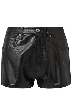 RE/DONE Cracked-leather shorts