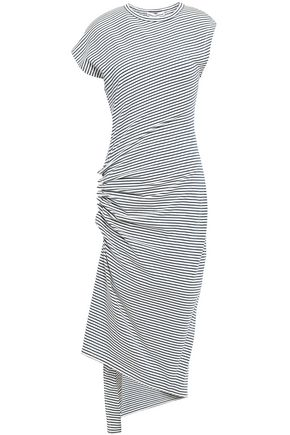 PACO RABANNE Asymmetric ruched striped stretch-cotton jersey dress