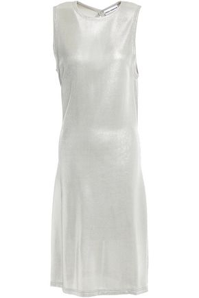 PACO RABANNE Cutout metallic piqué dress