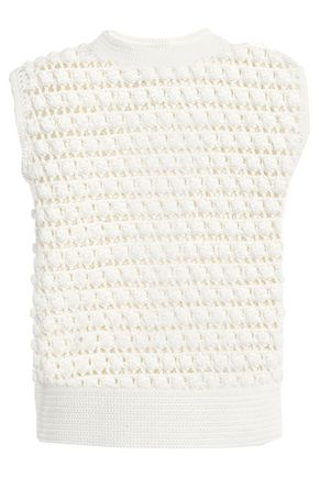 PACO RABANNE Crochet-knit cotton top