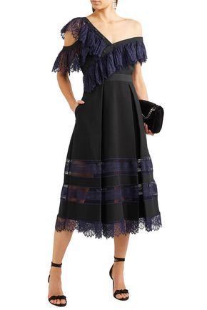 Self-portrait Off-the-shoulder Chantilly Lace-trimmed Cady Midi Dress In Black
