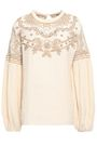 MES DEMOISELLES Twist embroidered open knit-paneled cotton-gauze blouse