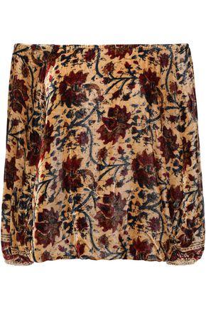 MES DEMOISELLES Cherie off-the-shoulder floral-print chenille blouse