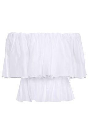 ALEXANDRE VAUTHIER Off-the-shoulder embellished cotton-voile blouse