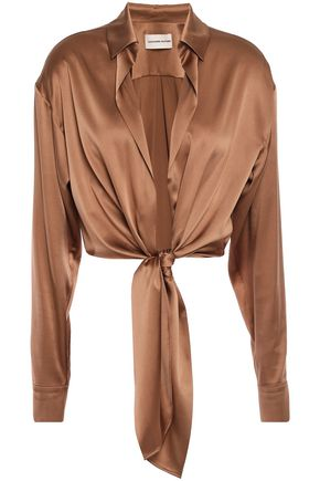 ALEXANDRE VAUTHIER Cropped knotted stretch silk-satin shirt