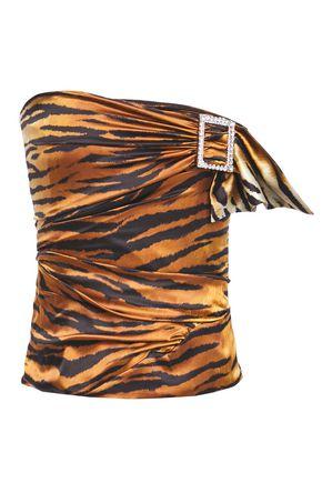 ALEXANDRE VAUTHIER Strapless ruched embellished tiger-print stretch silk-satin top