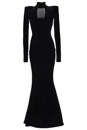 ALEXANDRE VAUTHIER Cutout velvet-paneled embellished tulle turtleneck gown
