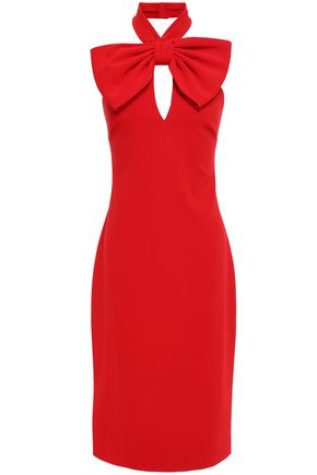 BADGLEY MISCHKA Bow-embellished stretch-cady halterneck dress