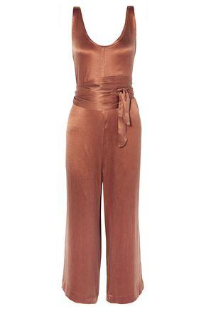 HATCH Serena cropped belted washed-satin jumpsuit