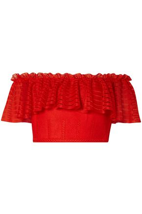 ALEXANDER MCQUEEN Cropped off-the-shoulder lace and open-knit top