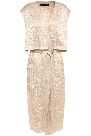 SALLY LAPOINTE Layered belted crinkled-satin midi wrap dress