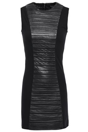 MUUBAA Stretch knit-paneled quilted leather mini dress