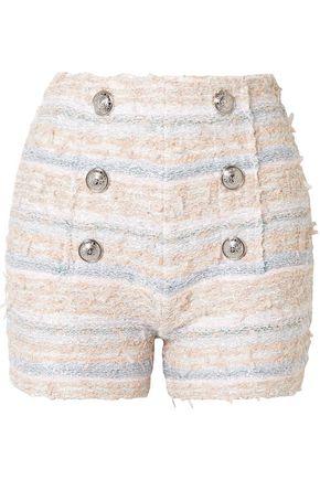 BALMAIN Button-embellished tweed shorts