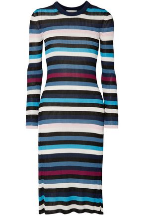 ALTUZARRA Stills striped ribbed-knit midi dress