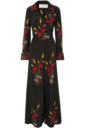 VALENTINO Wrap-effect printed silk-georgette jumpsuit