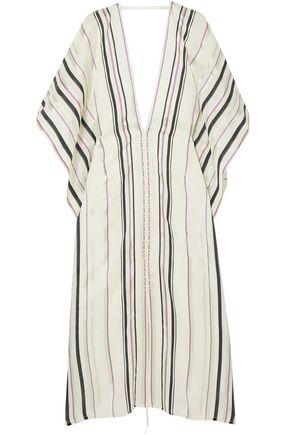 ROLAND MOURET Adamson lace-up crepe-paneled striped canvas midi dress