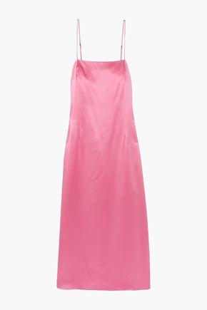 ADAM LIPPES Silk-satin midi slip dress