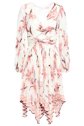 ZIMMERMANN Cutout pleated twisted floral-print organza dress