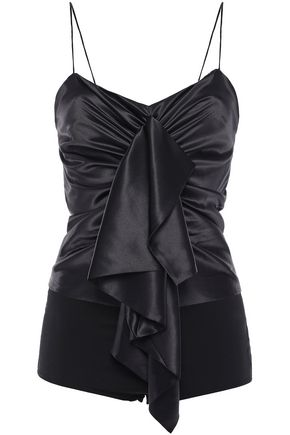 ALEXANDRE VAUTHIER Ruched draped stretch-silk satin and stretch-jersey bodysuit