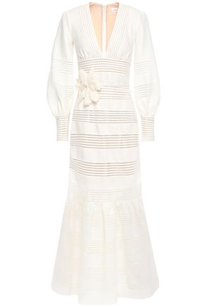 ZIMMERMANN Lattice-trimmed floral-appliquéd linen maxi dress