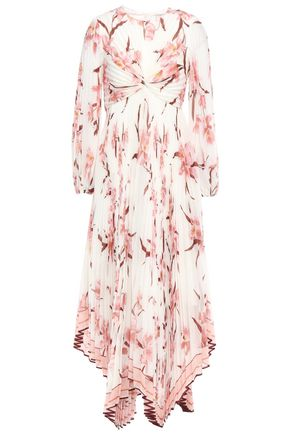 ZIMMERMANN Twisted pleated floral-print organza maxi dress