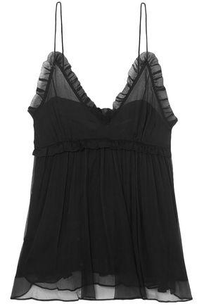 LEE MATHEWS Nina ruffle-trimmed crinkled silk-chiffon camisole