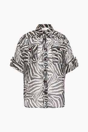 ZIMMERMANN Snake-print linen and silk-blend organza shirt