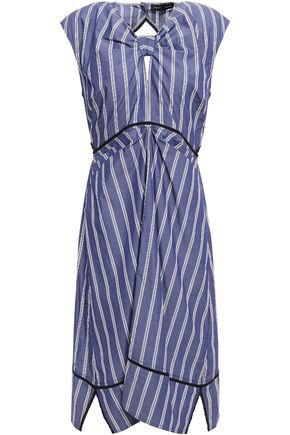 PROENZA SCHOULER Cutout knotted gathered striped cotton-poplin dress