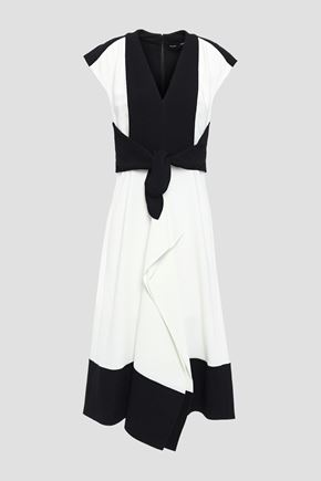 PROENZA SCHOULER Cady-paneled draped knotted two-tone crepe dress