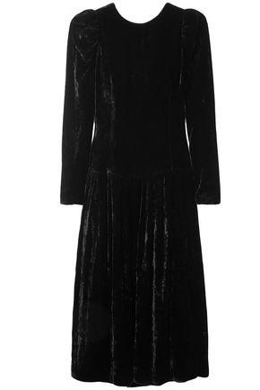 STELLA McCARTNEY Open-back satin-trimmed velvet midi dress
