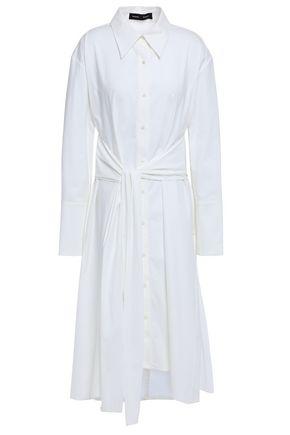 PROENZA SCHOULER Tie-front stretch cotton-poplin midi shirt dress