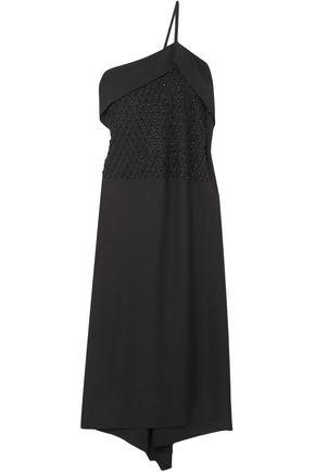 DRIES VAN NOTEN One-shoulder draped beaded crepe dress