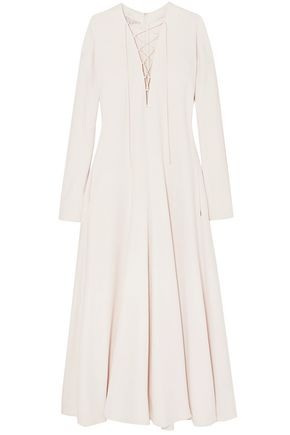 STELLA McCARTNEY فستان طويل من قماش كادي مع أربطة