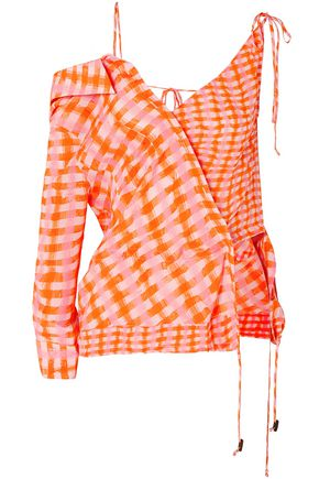 ALTUZARRA Nola asymmetric checked silk-georgette blouse