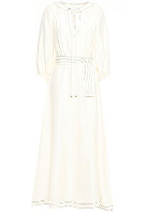 ZIMMERMANN Cutout belted silk-shantung maxi dress