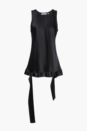 HELMUT LANG Satin-trimmed draped charmeuse blouse