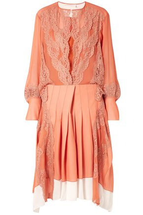 CHLOÉ Lace-trimmed pleated chiffon and crepe midi dress