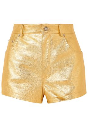 SAINT LAURENT Metallic crinkled-leather shorts