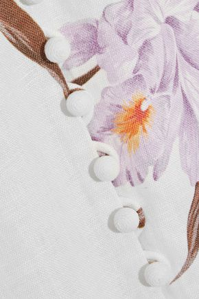 ZIMMERMANN Corsage button-detailed lace-up linen maxi dress