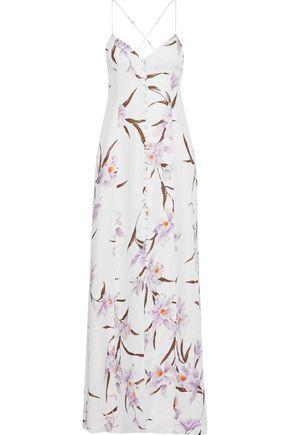"ZIMMERMANN فستان طويل ""كورساج"" من الكتان مع أربطة ومزين بأزرار"
