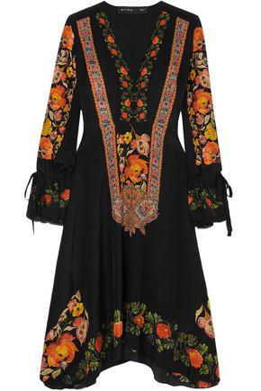 ETRO Crochet-trimmed printed silk crepe de chine dress