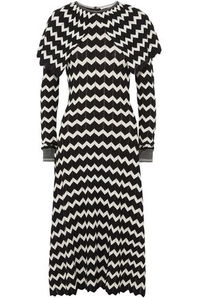STELLA McCARTNEY Cape-effect intarsia wool midi dress