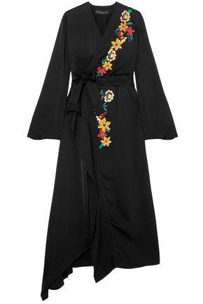 ETRO فستان متوسط الطول وبتصميم ملتفّ من الساتان المطرز