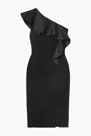 MICHAEL KORS COLLECTION One-shoulder ruffled wool-blend crepe dress
