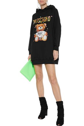 Moschino Glittered Printed French Cotton-terry Hooded Mini Dress In Black