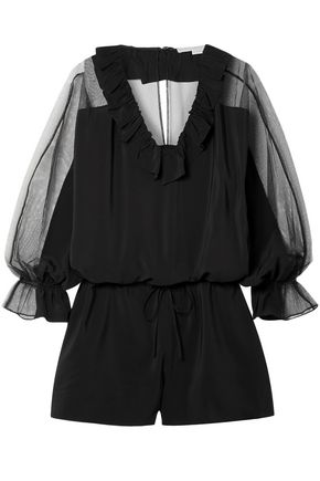 STELLA McCARTNEY Ruffled silk crepe de chine and tulle playsuit