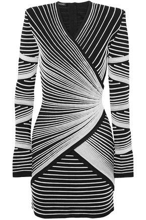 BALMAIN Paneled stretch-knit mini dress